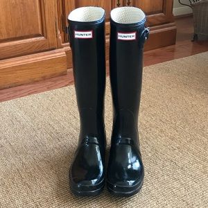 Hunter Black High Gloss Rain Boots